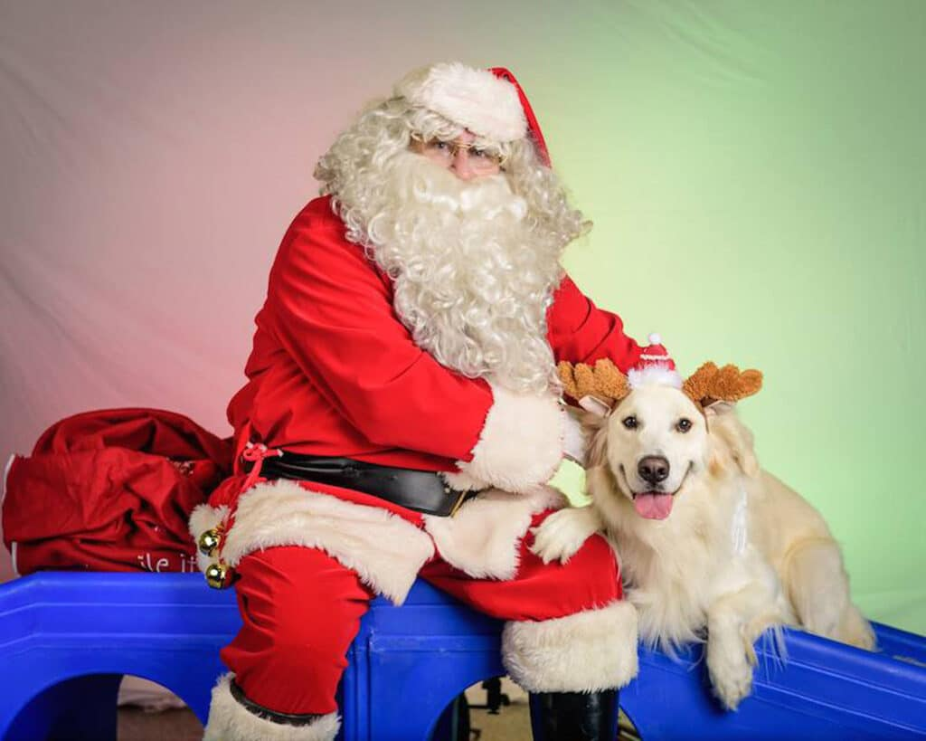 Santa with Dog Reindeer